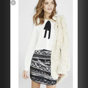 NWT Express Black & White Sequins miniskirt